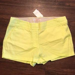 J Crew Chino Neon Yellow Shorts Size 8